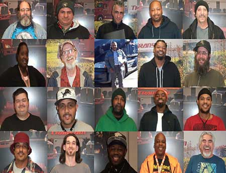 Photo is a collage of drivers who have leased trucks from ONE Leasing and became independent contractors for TransAm Trucking.