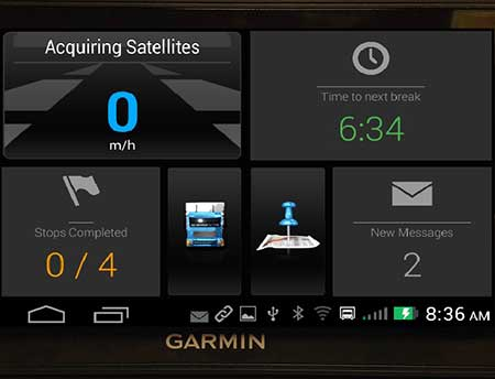 Photo is a closeup of the TransAm Garmin homescreen.