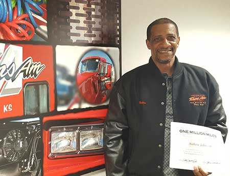 Congratulations, Nehru Johnson, on your Million Mile Achievement with TransAm Trucking!